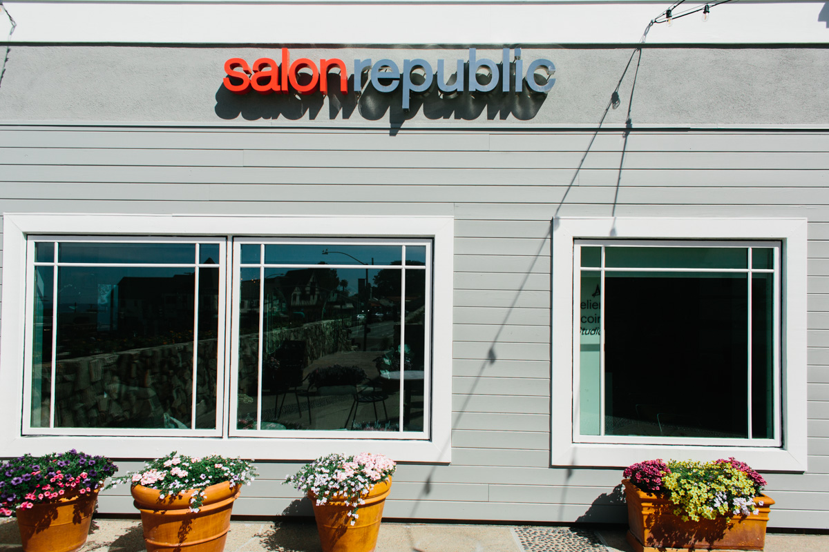Salon republic retail store entrance with windows