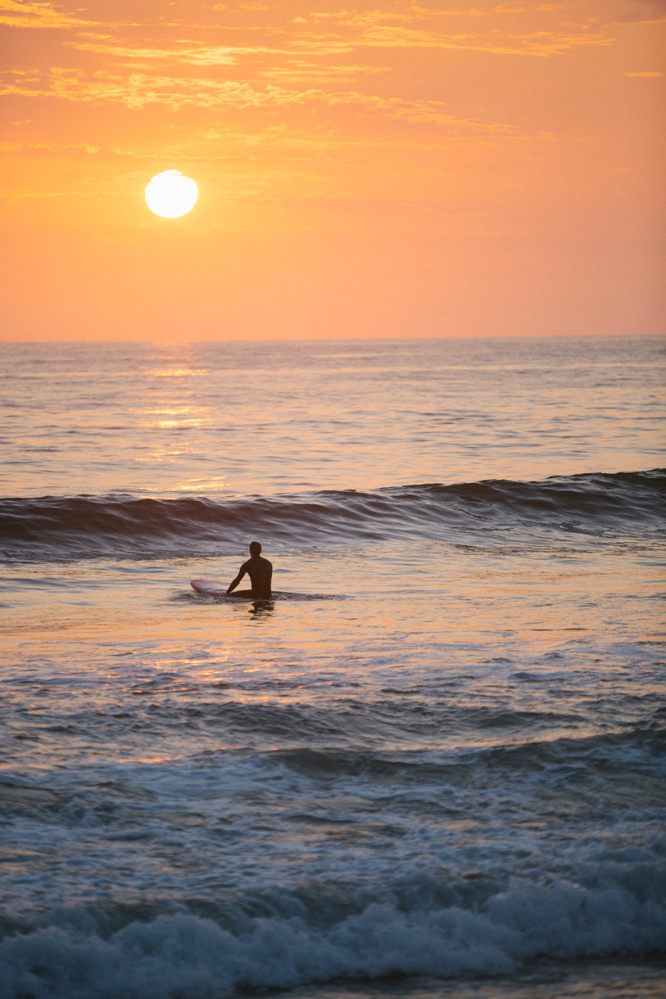 surfer in the waves at sunset at the beach in del mar
